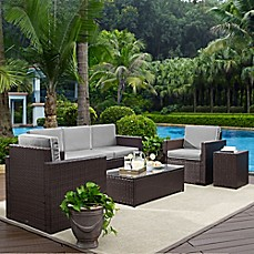image of Crosley Palm Harbor 5-Piece Outdoor Wicker Entertainment Set
