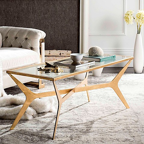 Safavieh Edythe Gold Leaf Coffee Table In Gold Leaf