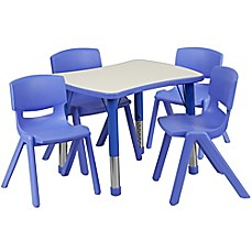image of Flash Furniture Rectangular Activity Table with 4 Stackable Chairs in Blue