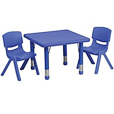Ordinaire Flash Furniture 24 Inch Square Activity Table With 2 Stackable Chairs In  Blue