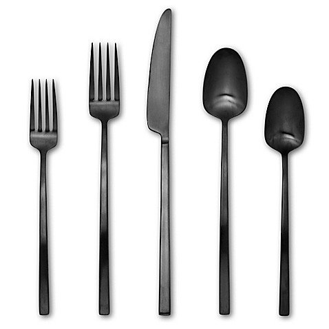 Artisanal Kitchen Supply Edge 20 Piece Flatware Set In Black Satin