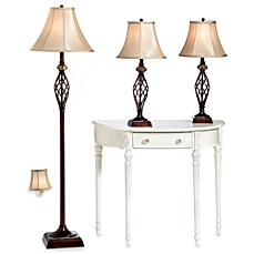 Image Of Bridge Street 3 Piece Marble Twist Lamp Set