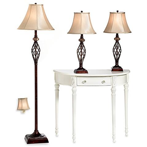 Bridge street 3 piece marble twist lamp set with cfl bulbs