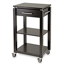 Linea Rolling Kitchen Cart With Chrome Accents