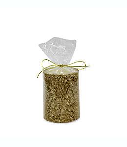 Vela pilar navideña con cuentas color dorado de 10.16 cm