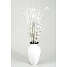 image of D&W Silks White Ting Orchids in Bamboo Vase