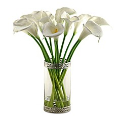 image of D&W Silks Calla Lilies in Glass/Metal Cylinder
