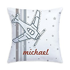 image of Vintage Airplane Pillow in Grey/White