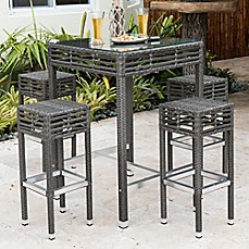 Image Of Panama Jack® Graphite 5 Piece Outdoor Pub Set In Grey