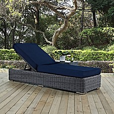 image of modway summon outdoor wicker chaise lounge in sunbrella canvas