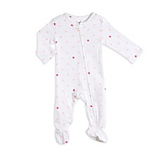 image of aden® by aden + anais® Zip-Front Star Footie in White/Pink