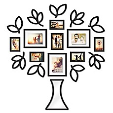 image of Wallverbs™ Open Leaf Tree 19-Piece Picture Frame Set in Black