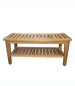 Taburete doble y banco Haven® para regadera, madera de teca