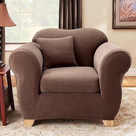 Sure Fitu0026reg; Stretch Pinstripe 2 Piece Chair Slipcover