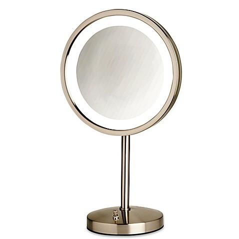 led lighted vanity mirror in nickel the jerdon tabletop vanity mirror. Black Bedroom Furniture Sets. Home Design Ideas