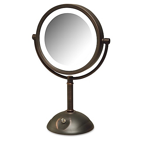 Jerdon 174 8x Led Tabletop Mirror In Bronze Bed Bath Amp Beyond