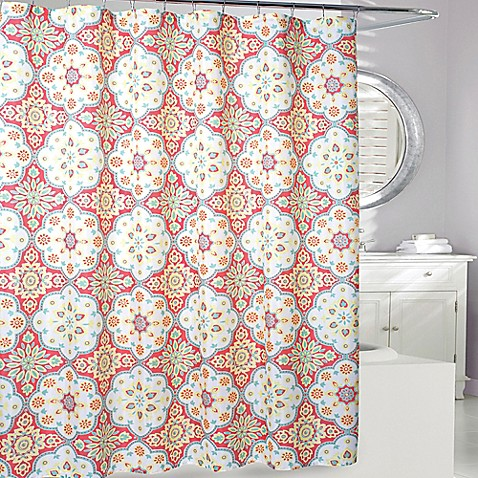 Tanya Shower Curtain In Coral Yellow Bed Bath Beyond