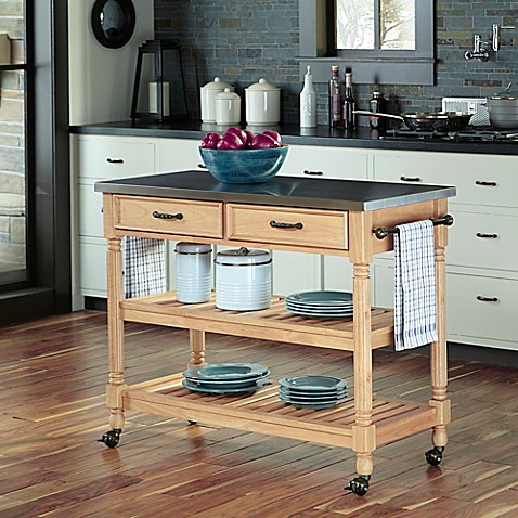 Home Styles Savannah Natural Kitchen Cart With Stainless
