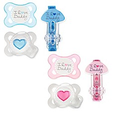 image of MAM Love & Affection Age 0-6 Months I Love Daddy Pacifiers and Clip Set