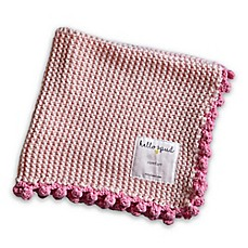 image of Hello Spud Comfort Blanket in Pink with Pom Poms