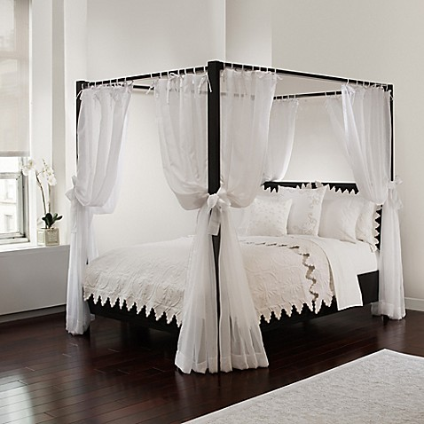 Buy Tie Sheer Bed Canopy Curtain Set In White Bedding