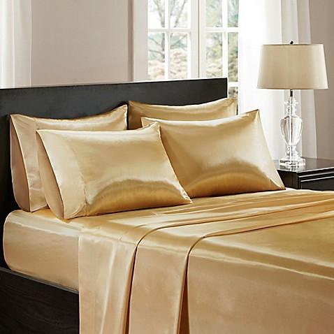 Buy madison park essentials premier comfort satin queen for Silk sheets queen bed bath beyond