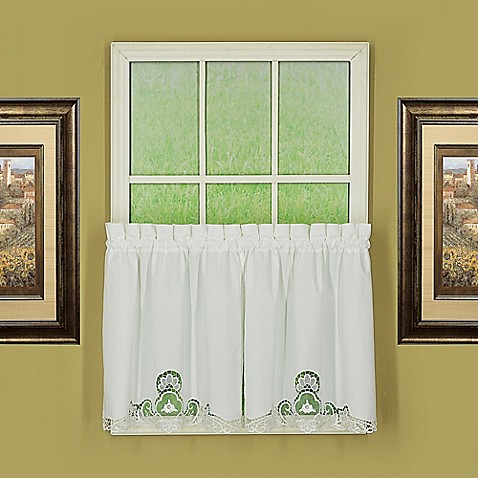Buy Annabelle 36 Inch Kitchen Window Curtain Tier Pair In White From Bed Bath Beyond