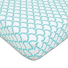 image of American Baby Company® Sea Wave Fitted Crib Sheet in Aqua/White