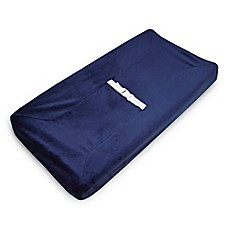image of American Baby Company® Heavenly Soft Chenille Contoured Changing Pad Cover in Navy