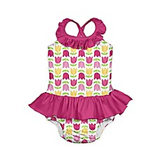 image of i play.® 1-Piece Tulip Print Ruffle Swimsuit with Built-In Swim Diaper in White