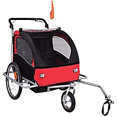 image of Baby Diego 2-in-1 Double Bike Trailer and Jogger Stroller