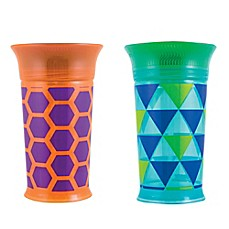 image of Sassy® 9 oz. Plastic Grow Up Cups in Green/Orange (Set of 2)