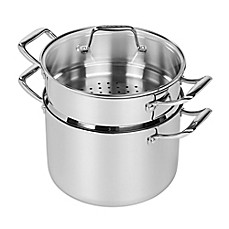 image of MAKER Homeware™ Nonstick Tri-Ply Stainless Steel 8 qt. Stock Pot with Steamer Insert