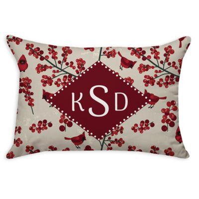 Cardinal Pattern Poplin Oblong Throw Pillow in Red - Bed Bath & Beyond