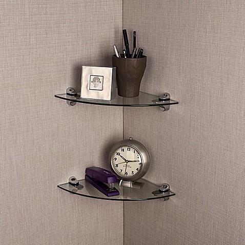 Buy danya b glass radial floating shelves in clear set of 2 from bed bath beyond - Danya b corner shelf ...