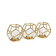 image of Danya B. Sparkling Polyhedron Triple Candle Holder in Gold
