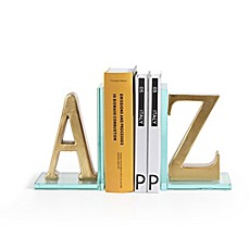 image of Danya B. A-to-Z Glass Bookend Set in Gold