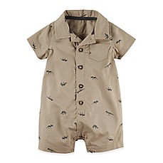 image of carter's® Button-Front Dinosaur Romper in Brown