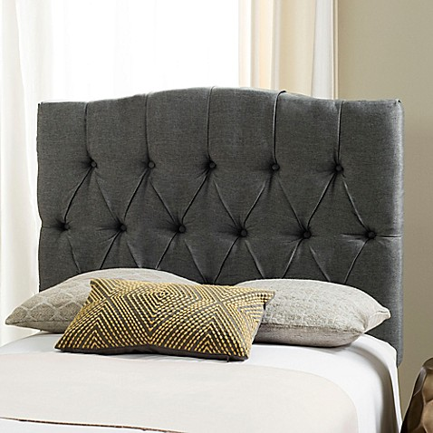618638 Safavieh Twin Axel Tufted Headboard Grey on upholstered rattan furniture