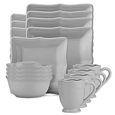 image of Lenox® French Perle Bead Square 16-Piece Dinnerware Set in Grey