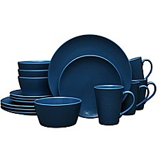 image of Noritake® Navy on Navy Swirl 16-Piece Coupe Dinnerware Set