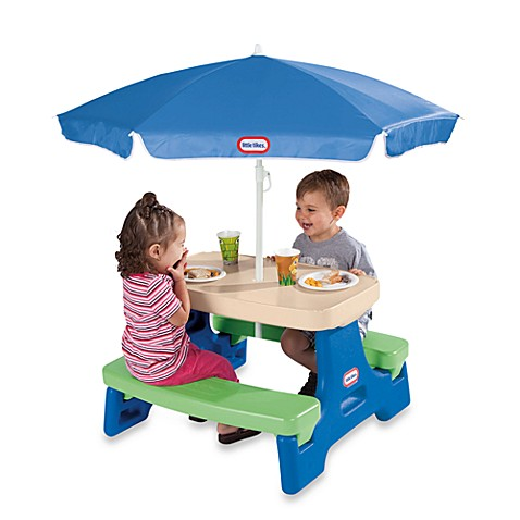 Little tikes easy store jr play table with umbrella for Little tikes 2 in 1 buildin to learn motor workshop