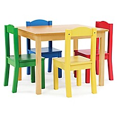 image of Tot Tutors 5-Piece Wooden Table and Chairs Set in Natural/Primary
