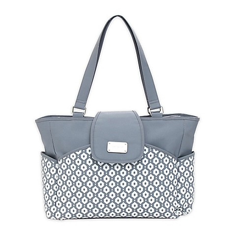 carter 39 s geo diamond carry it all tote diaper bag in grey buybuy baby. Black Bedroom Furniture Sets. Home Design Ideas