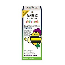 image of Zarbee's® 4 oz. Naturals Childrens Nighttime Cough Syrup + Mucus in Natural Grape Flavor