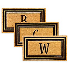 image of Rubber Door Mat Frame and Flocked Monogram Letter Inserts