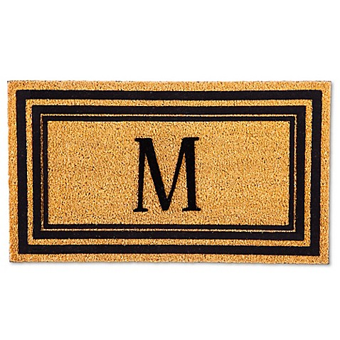 Rubber Door Mat Frame And Flocked Monogram Letter Inserts