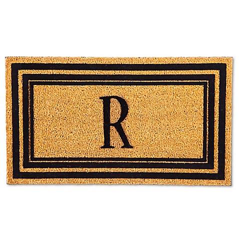 Buy Flocked Monogram Letter Quot R Quot Door Mat Insert In Black