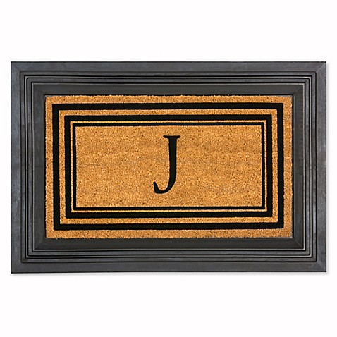 Rubber Door Mat Frame And Flocked Monogram Inserts Bed
