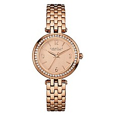 image of Caravelle New York Ladies' 30mm Crystal-Accented Floral Watch in Rose Goldtone Stainless Steel
